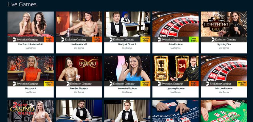 choose a live casino game