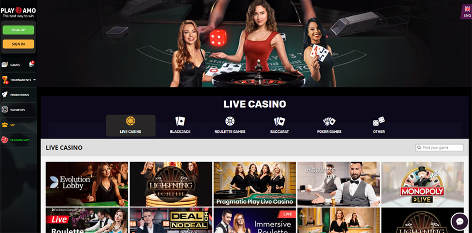 Playamo Live Casino games